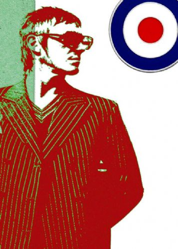 THE JAM - PAUL WELLER - MOD red canvas print - self adhesive poster - photo print